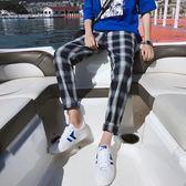 褲子  2018夏季情侶款韓版格子學生休閒褲港風寬鬆直筒長褲子潮流運動褲 芭蕾朵朵