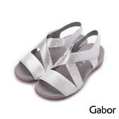 德國GABOR 金屬壓紋交叉繞踝皮革涼鞋 銀白 83.732.20 女鞋
