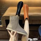 歐洲站秋季新款復古磨砂皮圓頭平底靴後拉鏈糖果色網紅馬丁靴短靴 喜迎新春