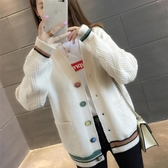 女裝秋2019新款學生韓版口袋毛衣外套女寬鬆V領長袖外搭針織開衫 滿天星