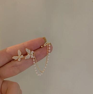 耳飾 蝴蝶耳釘女氣質韓國個性耳夾耳環一體式超仙流蘇耳飾2021年新款【快速出貨八折優惠】