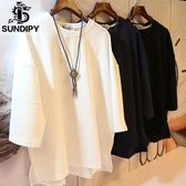 sundipy夏季七分袖中袖T恤潮韓版男士寬鬆t桖衫日系7分袖T恤男裝 嬌糖小屋