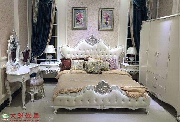 【大熊傢俱】歌德 新古典雙人床 床台 六尺床 法式床 皮床 床架 布藝 簡歐 另售化妝台