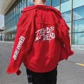 春季新款牛仔夾克男港風高中初中學生ins字母休閒寬鬆大碼外套紅L