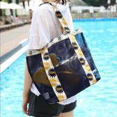 降價優惠兩天-乾濕包旅行透明游泳包干濕分離沙灘包沙灘旅游便攜網眼浴兜洗浴包收納袋