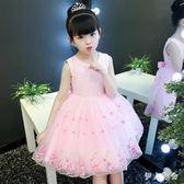 花童禮服 2018夏季韓版蕾絲蓬蓬紗粉色洋裝洋氣公主裙 ys5005『伊人雅舍』