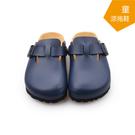 【A.MOUR 經典手工鞋】兒童涼拖鞋系列-藍 / 涼拖鞋 / 平底鞋 / 防潑水PVC /DH-3012