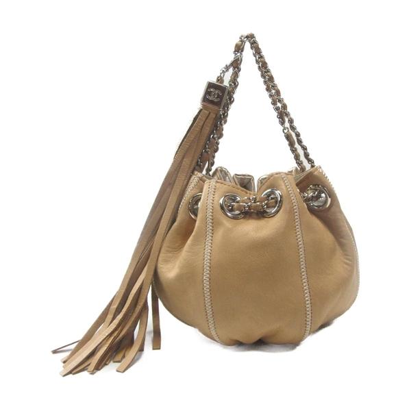 CHANEL 香奈兒 卡其色羊皮南瓜造型銀鍊束口手拿包 Sac Cordon Bucket Bag  BRAND OFF