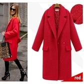 滿千免運~大碼女裝外套~大碼女裝時尚西裝領加厚 呢子大衣外套女MD043衣時尚