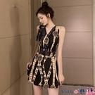 熱賣連體褲 夏季少女港味復古印花性感高腰顯瘦露背無袖連體短褲帶裹胸潮 coco