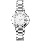 【BENTLEY】賓利 Lady Bentley系列 女神款典雅晶鑽手錶 (白面/銀色鋼帶 BL1689-700000)