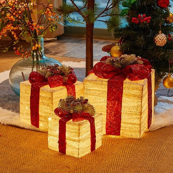 聖诞装饰 聖誕裝飾品聖誕節飾品節日氣氛店鋪場景布置櫥窗鐵藝禮物盒擺件T