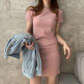 夏季韓版氣質修身包臀裙子純色T恤裙女打底短袖洋裝顯瘦短裙潮 衣櫥秘密