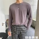 高級垂感圓領長袖 純色T恤 韓版微寬 百搭打底衫 自制潮流絲滑T恤 自由角落
