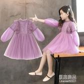 公主童裙女童春裝紗裙新款中大童兒童釘珠泡泡袖洋裝潮【快出】