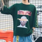 短袖t恤男原宿bf風寬鬆夏季情侶個性嘻哈正韓學生七分袖上衣【七夕節八折】