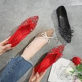 平底鞋女紅色單鞋女士婚禮新娘鞋結婚敬酒鞋紅色婚慶鞋子孕婦紅鞋『小淇嚴選』