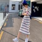 漂亮小媽咪 彩色條紋洋裝【D1333】 超長版T 孕婦裝 連身裙 孕婦洋裝