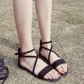 【雙12】全館85折大促交叉綁帶復古羅馬鞋一字扣學生平底涼鞋
