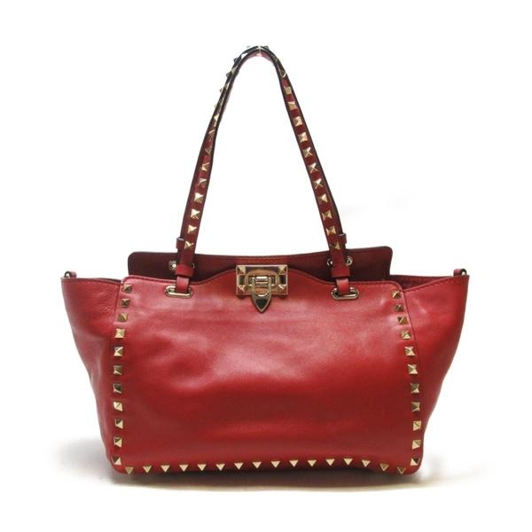 VALENTINO 范倫鐵諾 紅色牛皮鉚釘手提包 肩背斜背包 Rockstud Tote Bag【BRAND OFF】
