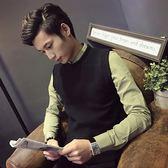 秋冬季毛衣背心男無袖針織毛線背心男士立領青年套頭馬甲坎肩男潮