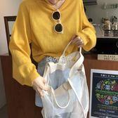 女性長袖針織上衣 韓版超顯白基礎款寬鬆薄款針織衫 珍妮寶貝