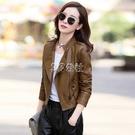 新款潮女裝PU皮韓版時尚修身外套機車服皮夾克女士外套快速出貨
