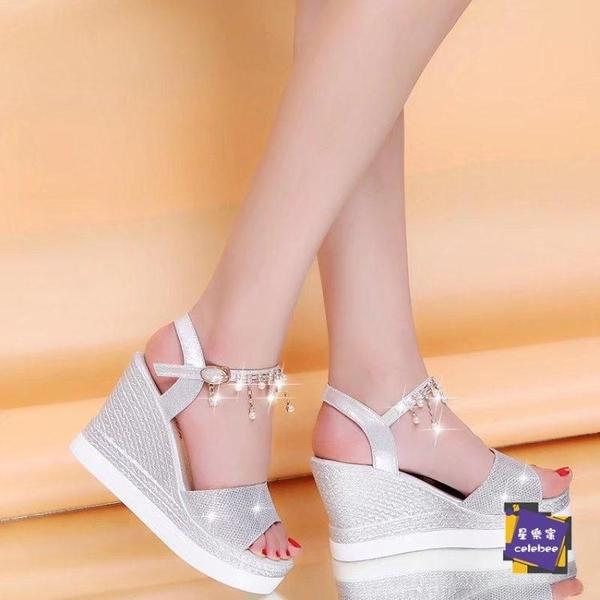 楔形涼鞋 波西米亞涼鞋女學生夏2020新款百搭舒適厚底楔形女鞋厚底鬆糕鞋平底鞋