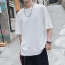 短袖T恤第四十九天夏季純色圓領寬鬆短袖T恤男士白色半袖潮流體恤打底衫 贝芙莉