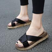 韓版新款休閒拖鞋女夏外穿時尚涼拖中跟厚底室外鬆糕鞋沙灘鞋 薔薇時尚