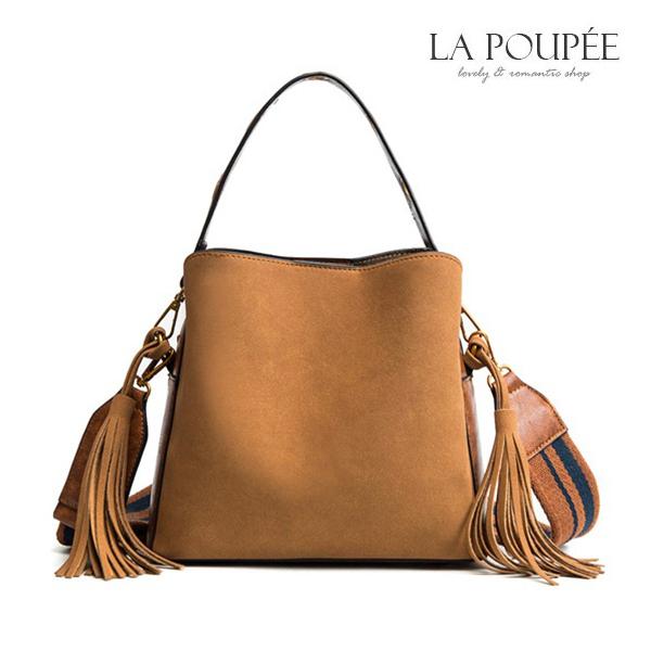 側背包 時尚雙主面流蘇水桶包 3色-La Poupee樂芙比質感包飾 (現貨+預購)