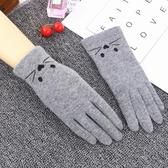 暖手手套觸摸屏單層羊毛女士手套秋冬季寬鬆可愛貓咪刺繡五指冬天保暖手套 新年禮物