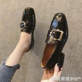 樂福鞋-ins黑色小皮鞋女2019新款軟妹粗跟單鞋中跟方頭復古一腳蹬樂福鞋 依夏嚴選