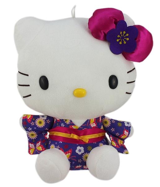 【卡漫城】 Hello Kitty 玩偶 和服 紫 28cm ㊣版 日版 凱蒂貓 絨毛娃娃 布偶 吊飾擺飾 收藏收集