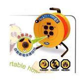 [家事達] HS-電精靈 大電流工業 動力電纜輪座-2孔 (2芯*2.0*150尺) 特價 雙過載保護器  延長線