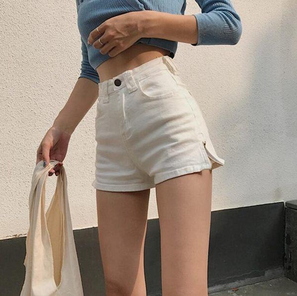 夏季女裝日韓復古高腰修身彈力顯瘦A字側拉鍊牛仔短褲闊腿褲熱褲