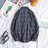 特賣長袖襯衫韓版寬鬆格子襯衣潮秋冬外套2020黑白色加絨保暖襯衫男長袖