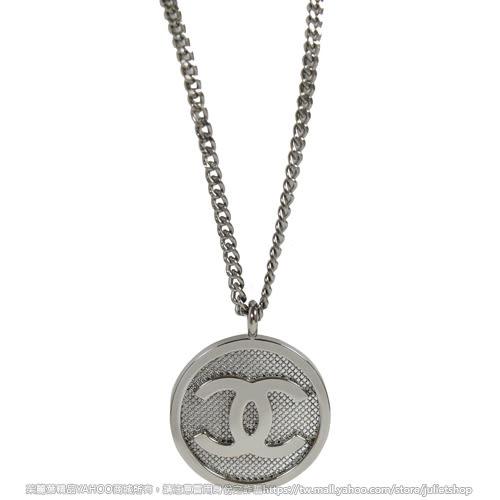 茱麗葉精品 全新精品 CHANEL A99056 香奈兒 經典雙C LOGO簍空圓型項鍊.銀