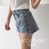 新款韓版百搭刺繡a字牛仔短褲女高腰寬松顯瘦闊腿熱褲子