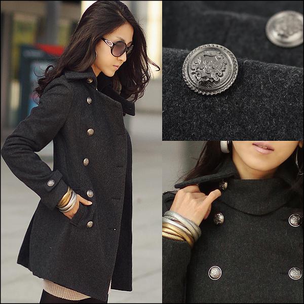 大衣外套女【艾美天后】韓版時尚復古鈕扣大氣袖章·肩章翻領塑身長版大衣毛呢子風衣外套