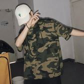2018夏季新款迷彩套頭連帽T恤男士韓版青年寬鬆半袖潮流短袖體恤 依凡卡時尚