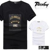 『潮段班』【SD035260】L-XL素色純色英文字母燙金立體設計圓領短袖T恤上衣