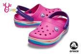 Crocs卡駱馳 洞洞鞋 小童 中大童 波浪造型 園丁鞋 防水布希鞋 A1718#桃紅◆OSOME奧森鞋業