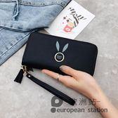 手拿包/女士手拿長款純色拉鍊零錢包手機包「歐洲站」