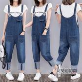 褲子百搭休閒寬鬆背帶牛仔褲大尺碼XL-5XL大尺碼女加肥l