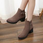 高跟短靴 2020秋冬季新款高跟小短靴女百搭網紅瘦瘦靴粗跟中跟短筒馬丁靴潮 薇薇