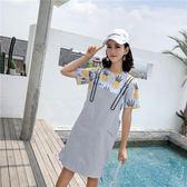 牛仔背帶裙春夏季女裝潮韓版時尚兩件套裝中長款連身裙子9882DS2F-245依佳衣