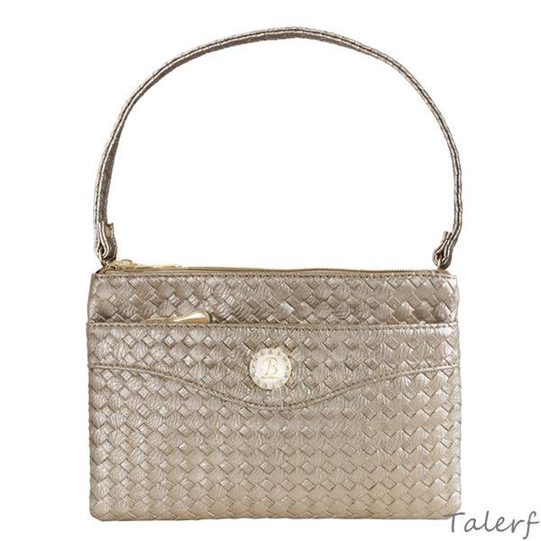 TALERF編織雙層方型斜背包(香檳色) /多功能 兩用 肩背 手提 包包