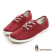 Hush Puppies 典雅緞面咖啡紗帆布鞋-紅色