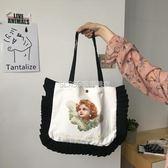 新款大容量文藝手提包可愛百搭包包單肩帆布包日繫學院風女士包袋   琉璃美衣